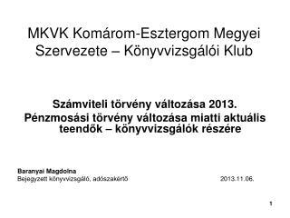 MKVK Komárom-Esztergom Megyei Szervezete – Könyvvizsgálói Klub