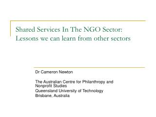 Shared Services In The NGO Sector: Lessons we can learn from other sectors