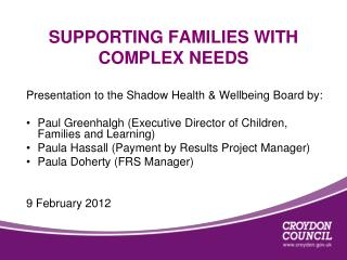 SUPPORTING FAMILIES WITH COMPLEX NEEDS