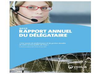 2012  SYNTHESE DU RAPPORT  ANNUEL DU DELEGATAIRE