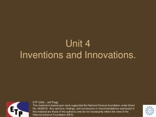 Unit 4 Inventions and Innovations.