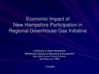 Economic Impact of   New Hampshire Participation in Regional Greenhouse Gas Initiative