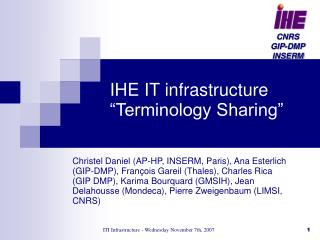IHE IT infrastructure �Terminology Sharing�
