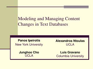 Modeling and Managing Content Changes in Text Databases