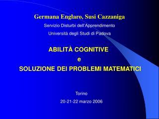 ABILITÀ COGNITIVE  e  SOLUZIONE DEI PROBLEMI MATEMATICI