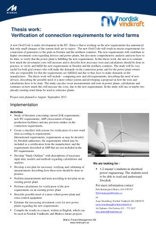 Thesis work:  Verification of connection requirements for wind farms