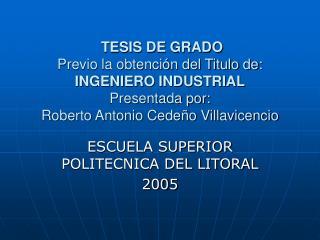 ESCUELA SUPERIOR POLITECNICA DEL LITORAL 2005