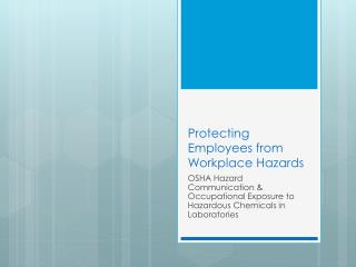 Protecting Employees from Workplace Hazards