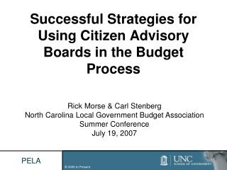 Successful Strategies for Using Citizen Advisory Boards in the Budget Process