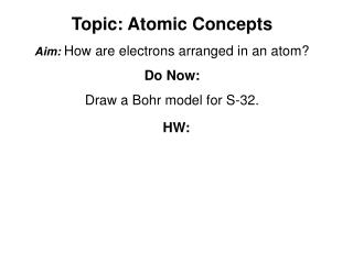 Topic: Atomic Concepts Aim: How are electrons arranged in an atom?  Do Now: