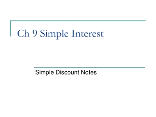 Ch 8 Simple Interest