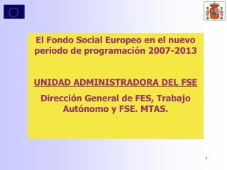 El Fondo Social Europeo en el nuevo periodo de programación 2007-2013