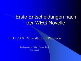 Erste Entscheidungen nach der WEG-Novelle