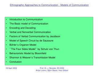 Introduction to Communication The Basic model of Communication Encoding and Decoding