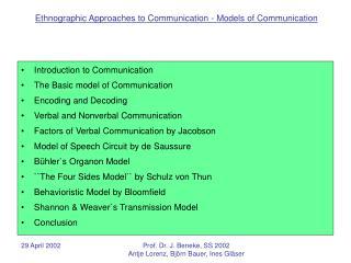 Introduction to Communication The Basic model of Communication Encoding and Decoding