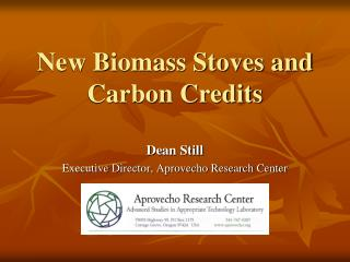 New Biomass Stoves and Carbon Credits