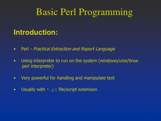 Basic Perl Programming