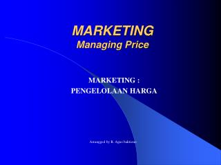 MARKETING Managing Price