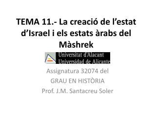 TEMA 11.- La creació de l'estat d'Israel i els estats àrabs del Màshrek