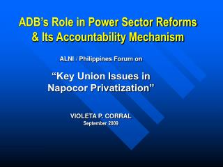 ADB's Role in Power Sector Reforms & Its Accountability Mechanism