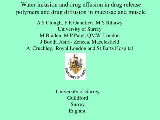 Water infusion and drug effusion in drug release polymers and drug diffusion in mucosae and muscle