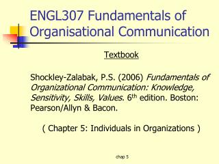 ENGL307 Fundamentals of Organisational Communication