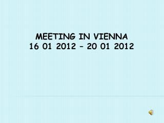 MEETING IN VIENNA     16 01 2012 – 20 01 2012