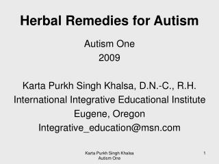 Herbal Remedies for Autism