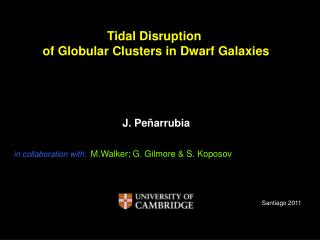 Tidal Disruption  of Globular Clusters in Dwarf Galaxies