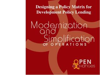 Designing a Policy Matrix for Development Policy Lending
