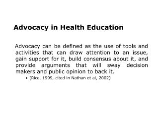 Advocacy in Health Education