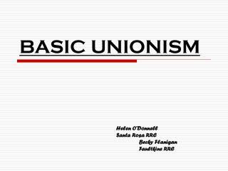 BASIC UNIONISM