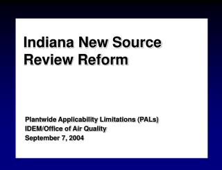 Indiana New Source Review Reform