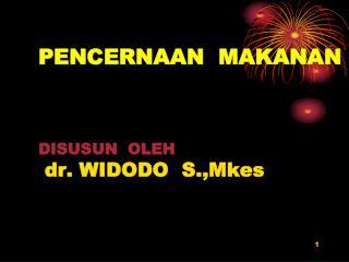 PENCERNAAN  MAKANAN DISUSUN  OLEH dr. WIDODO  S.,Mkes