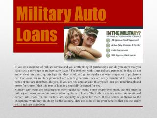 Auto Loans For Military
