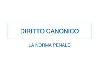 DIRITTO CANONICO