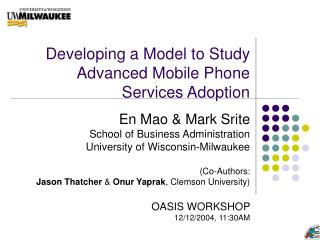 Developing a Model to Study Advanced Mobile Phone Services Adoption