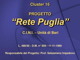 """Cluster 16 PROGETTO  """"Rete Puglia"""""""