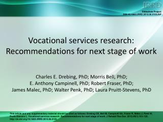 Vocational services research: Recommendations for next stage of work