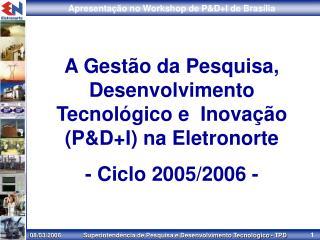 A Gestão da Pesquisa, Desenvolvimento Tecnológico e  Inovação (P&D+I) na Eletronorte