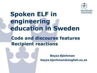 Spoken ELF in engineering education in Sweden