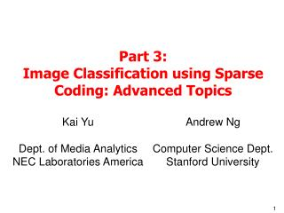 Part 3: Image Classification using Sparse Coding: Advanced Topics