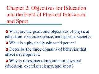 Chapter 2: Objectives for Education and the Field of Physical Education and Sport