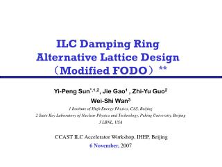 ILC Damping Ring  Alternative Lattice Design ( Modified FODO ) **