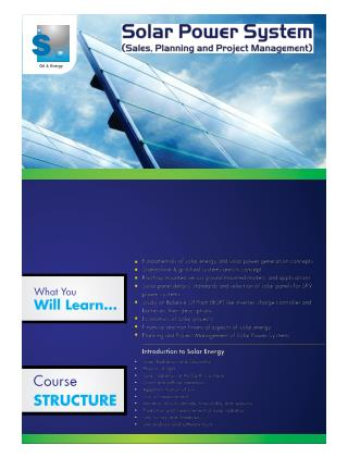 Solar Power System- Project Management Training in NCR
