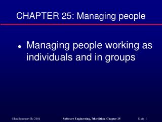 CHAPTER 25: Managing people