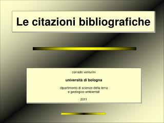Le citazioni bibliografiche