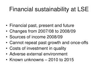 Financial sustainability at LSE