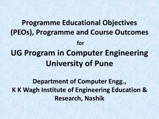 Programme Educational Objectives (PEOs)