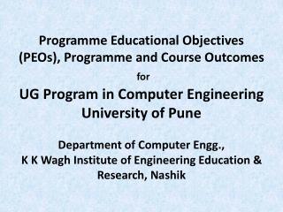 Programme Educational Objectives (PEOs)